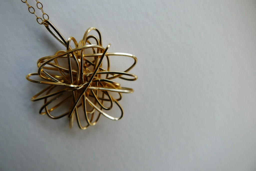 Delicate Gold Necklace, Blue Genie Art Show, Hypercube, Tesseract, Jewelry, Pendant