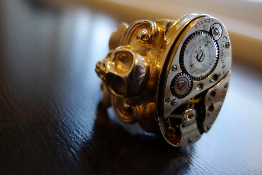 Ring, Skull, Clock, Clockwork, Jewelry, The Evolution Store