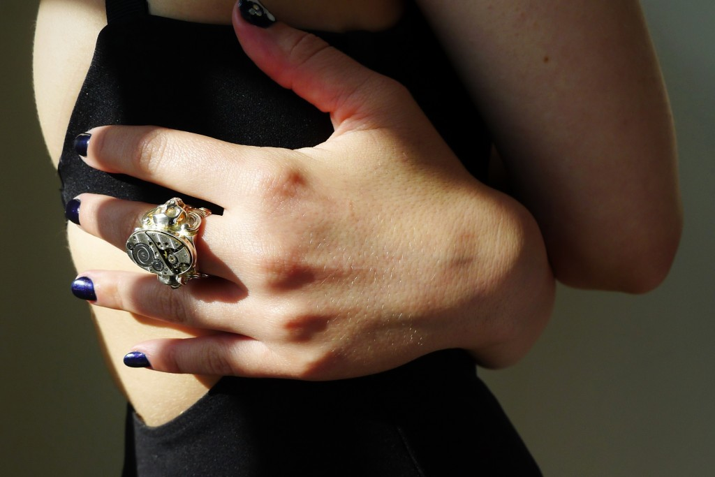 Skull, Jewelry, Ring, Accessories, Clock, Clockwork, The Evolution Store, SoHo, Little Black Dress, Topshop, Manicure, Jennifer Blair